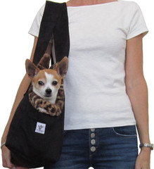 Dog Carrier - Black Microsuede with Leopard
