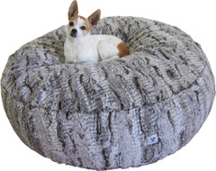 Luxury Faux Fur Dog Bed - Large Chocolate Swirl