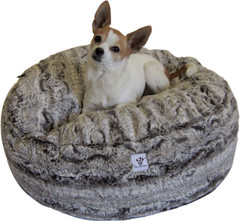 Luxury Faux Fur Dog Bed - Chocolate Swirl Small