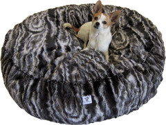 Luxury Faux Fur Dog Bed - Large Black Marble