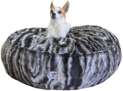 Luxury Faux Fur Dog Bed - Black Marble Small