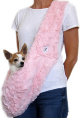 Dog Sling - Faux Fur Pink
