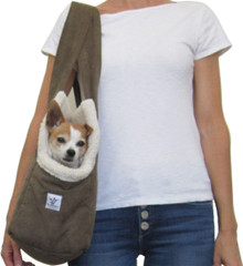 Dog Carrier - Olive Microsuede with Cozy Sherpa Lining