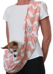 Dog Sling - Cotton Peach and White