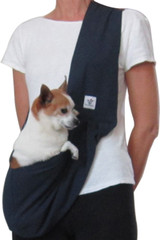 Dog Sling - Cotton Navy Blue