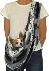 Dog Sling - Faux Fur Gray/Black Animal Print