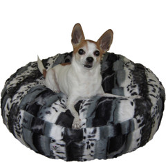 Luxury Faux Fur Dog Bed - Gray/Black Animal Print Small