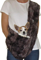 Dog Sling - Marbled Mocha Faux Fur