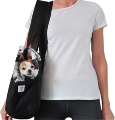 Dog Carrier - Black Microsuede with Animal Print Faux Fur
