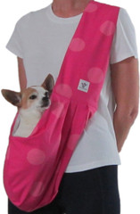 Dog Sling - Cotton Hot Pink Polka Dot