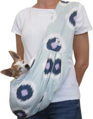 Dog Sling - Cotton Blue/Lavendar Ikat