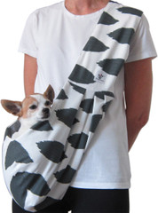 Dog Sling - Cotton White with Gray Abstract Diamond