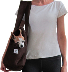 Dog Carrier - Chocolate Microsuede with Chocolate Faux Fur