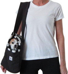Dog Carrier - Black with Black and White Stripe