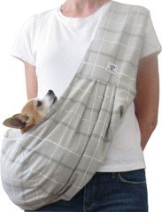 Dog Sling - Cotton Taupe Plaid