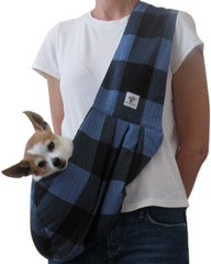 Dog Sling - Cotton Blue Black Check