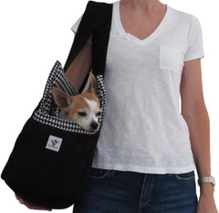 DOG CARRIER - BLACK MICROSUEDE BW HOUNDSTOOTH