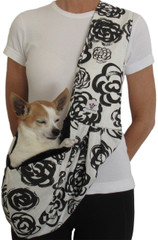 Dog Sling - Cotton Black Floral