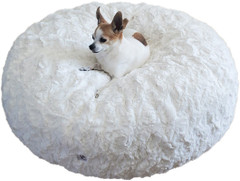 Luxury Faux Fur Dog Bed - Snow Large