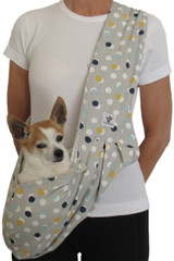 Dog Sling - Cotton Gray with Polka Dots