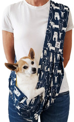 Dog Sling - Cotton Navy Dog Print