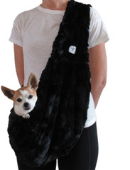Dog Sling - Faux Fur Black