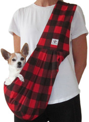 Dog Sling - Cotton Red Black Check