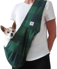 Dog Sling - Cotton Green Navy Check