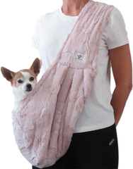 Dog Sling - Faux Fur Blush