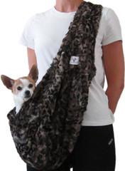 Dog Sling - Faux Fur Leopard