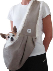 Dog Sling - Taupe with Cream Fluff