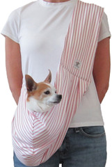 Dog Sling - Cotton Red and White Stripe