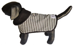 Dog Jacket-Black and White Houndstooth