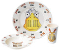 3 piece set for the Year 4, Age 8+, age group, as recommended in the new National curriculum. The set contains 3 exquisite pieces: 25 cm plate, a 19cm bowl and an 11cm beaker, each featuring your choice of either the x9, x11 and x12 Times Table characters - 'theMultiples' - to help your family to learn their Times Tables in a low profile and fun way. Times tables are the key foundation stone towards a life long proficiency in Maths and natural affinity for numbers. High quality 100% melamine with glossy finish. Designed in UK. Dishwasher safe. Not for microwave (as with all melamine products). Delivery in 48 hours normally. The new National Curriculum guidelines: Expert:                Age 8+              x9,  x11,   x12