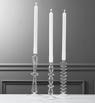 CB2 Glass Candlesticks