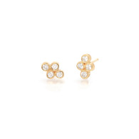 14K Quad Bezel Set Diamond Studs