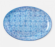 Large Blue Mixed Pattern Platter
