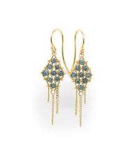 Blue Diamond Earrings with Tassles