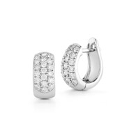 Large Huggie Earrings White Gold