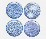 Blue Mixed Pattern Salad/Dessert Plate, Earthenware