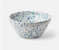 Large Mixed Blue Spongeware Serving Bowl, Earthenware