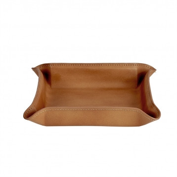 Tan Leather Valet Tray