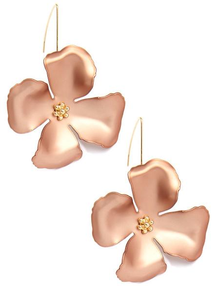 Copper Poppy Flower Earring
