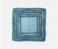 Abaca Square Placemat, Deep Blue, Bleached