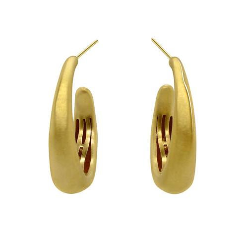 Brushed gold hoops