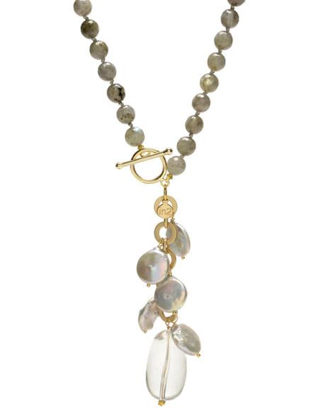 Labradorite, freshwater coin baroque pearls, natural crystal