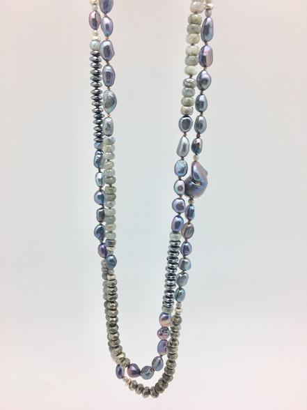Labradorite, pyrite, peacock pearl, oversized baroque pearl