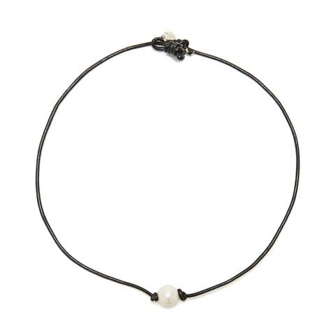 Black cord, white pearl