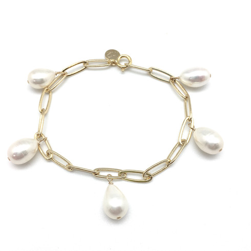 Gold plated brass paper clip chain with white freshwater pearls.