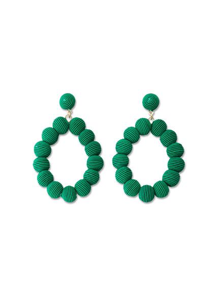 Emerald Woven Ball Earrings